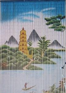 Mành trúc vẽ phong cảnh