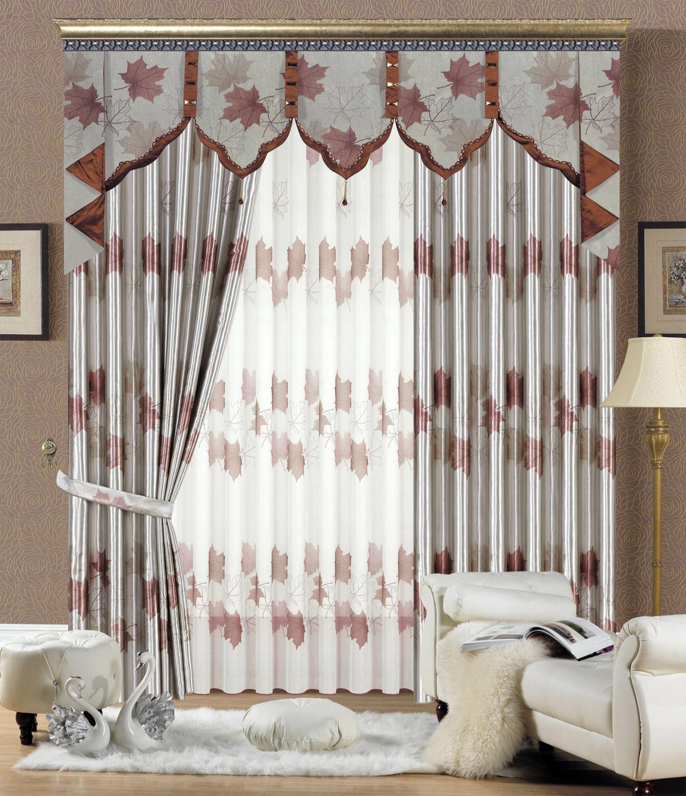 Rèm che nắng cửa sổ bằng vải gấm họa tiết lá phong